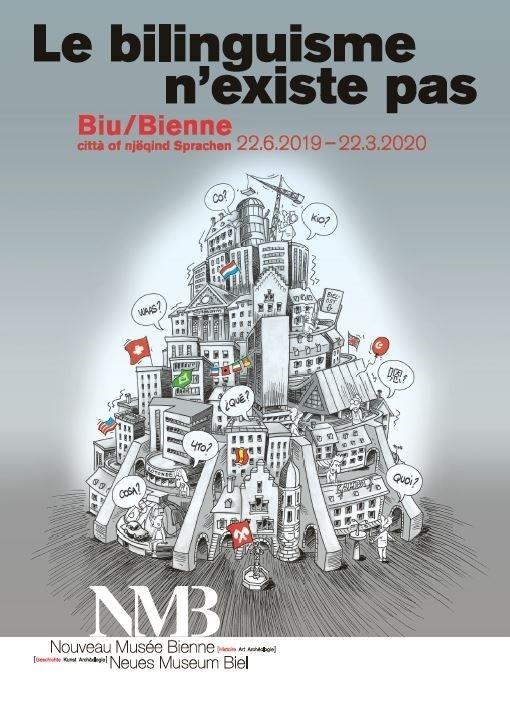 L'affiche de la nouvelle exposition du Nouveau Musée Bienne « Le bilinguisme n'existe pas ».