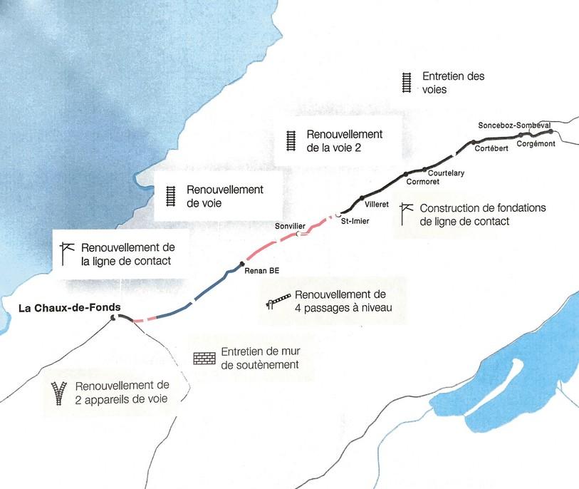 Une carte des travaux (source: CFF)
