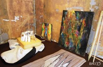 Oeuvres de Thomas Tripet, en cours d'installation