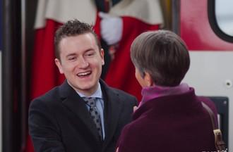 Raphaël Comte reçu par la présidente du Grand Conseil Veronika Pantillon.