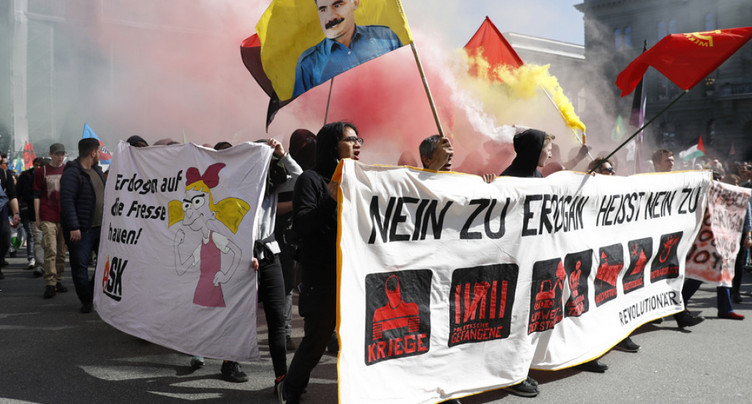 Manifestation anti-Erdogan sur la Place fédérale à Berne