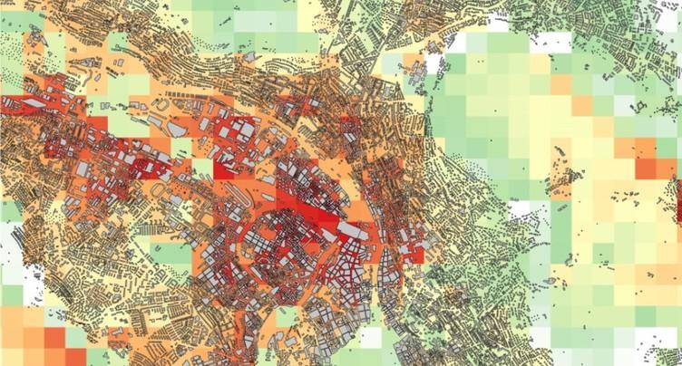 Empa/EPFZ: cartographie des îlots de chaleur à Zurich