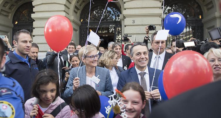 Une centaine de Tessinois fête à Berne l'élection d'Ignazio Cassis