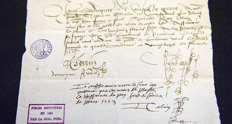 Fiche de paie signée par Calvin restituée à Genève