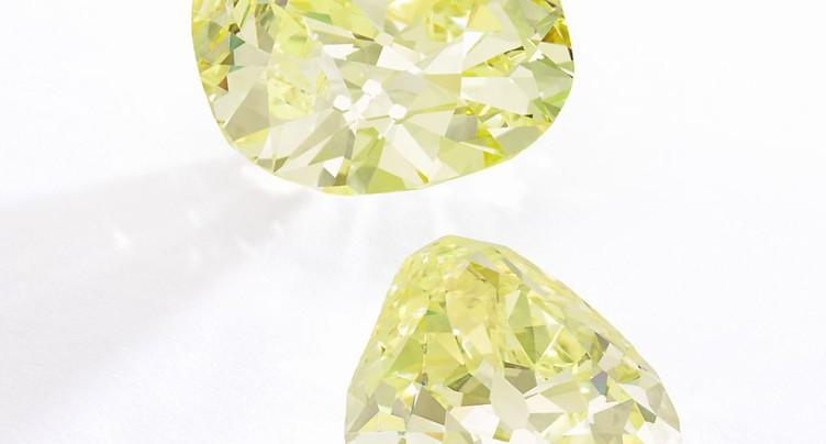 Deux diamants jaunes d'origine princière en vente à Genève