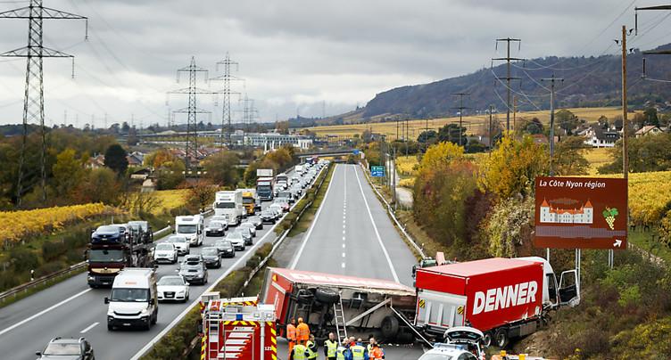 Autoroute A1 fermée à la hauteur d'Aubonne, direction Genève