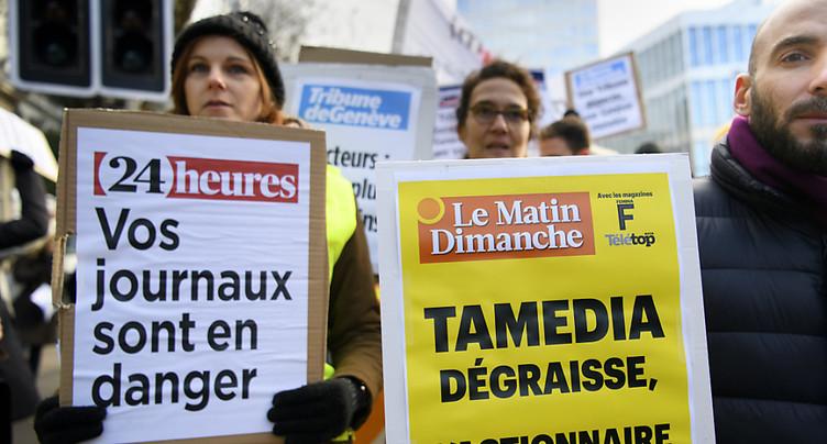 Une centaine de manifestants dénoncent la politique de Tamedia