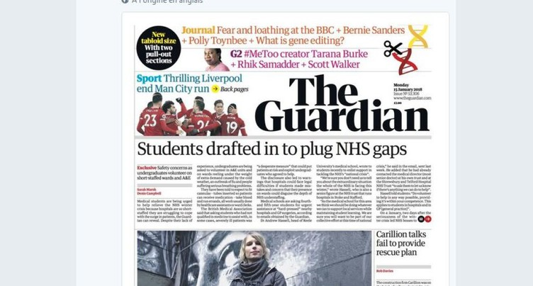 Le quotidien britannique The Guardian adopte le format tabloïd