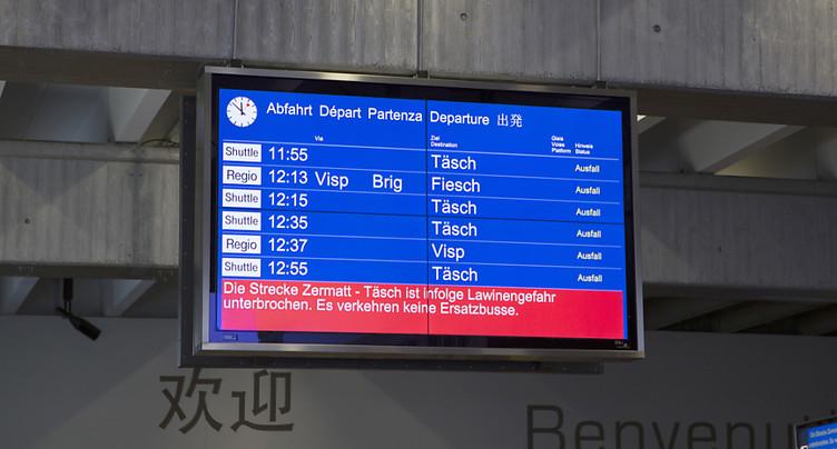 Le trafic ferroviaire est toujours perturbé à Zermatt