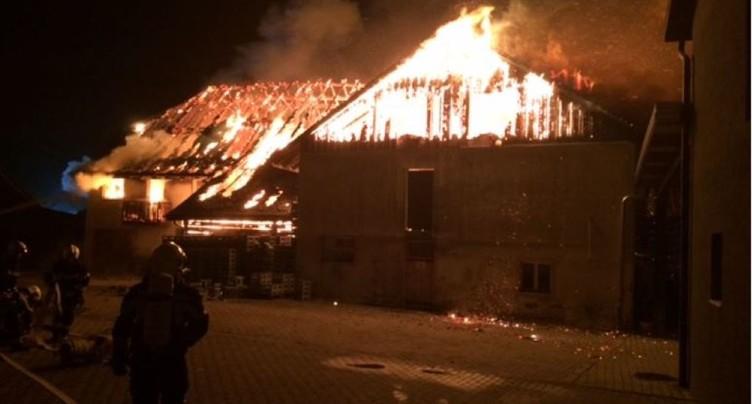 Une maison détruite par les flammes à Montmagny VD