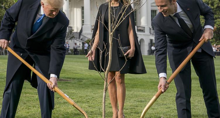 Macron et Trump en jardiniers éphémères à la Maison Blanche