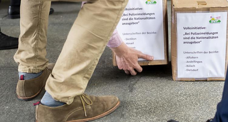 L'UDC zurichoise exige la nationalité des auteurs de délits