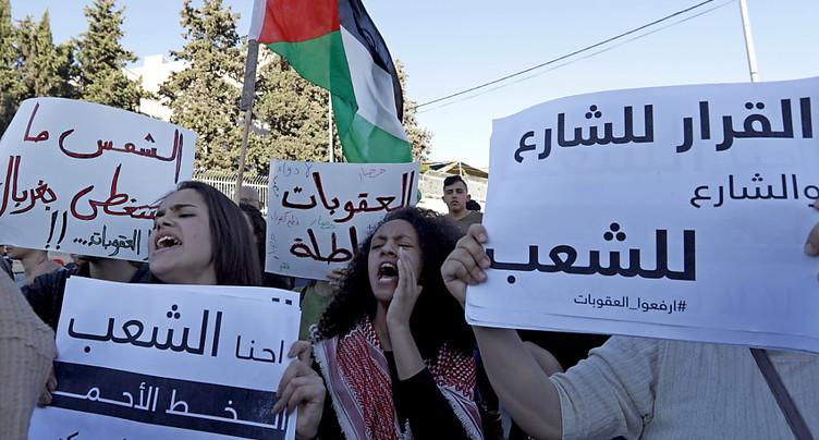 Manifestation à Ramallah en solidarité avec Gaza
