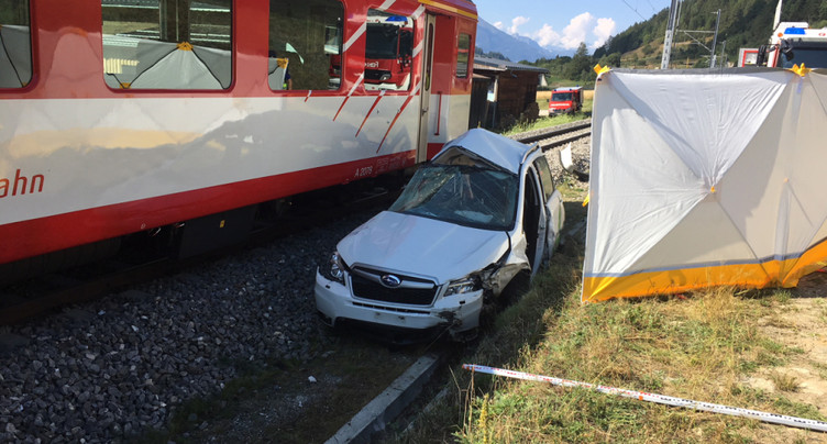 Collision mortelle entre un train et une voiture à Selkingen (VS)