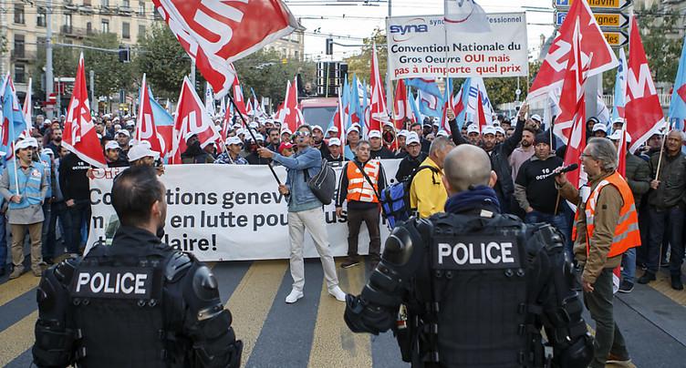 Deuxième journée de grève des maçons à Genève