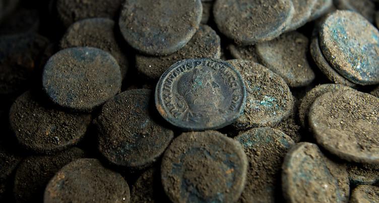 Pièces de monnaie romaines en bronze trouvées à Winterthour