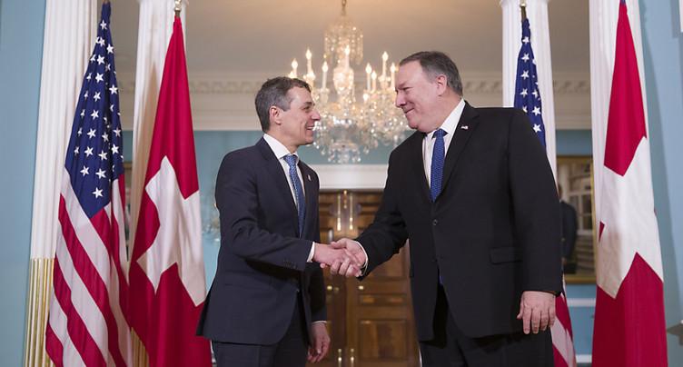Le secrétaire d'Etat américain Mike Pompeo en visite en Suisse