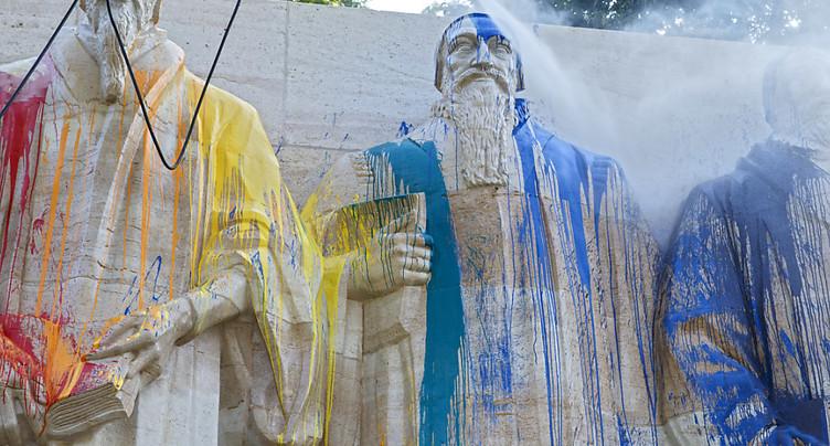 Des vandales déversent de la peinture sur le Mur des Réformateurs