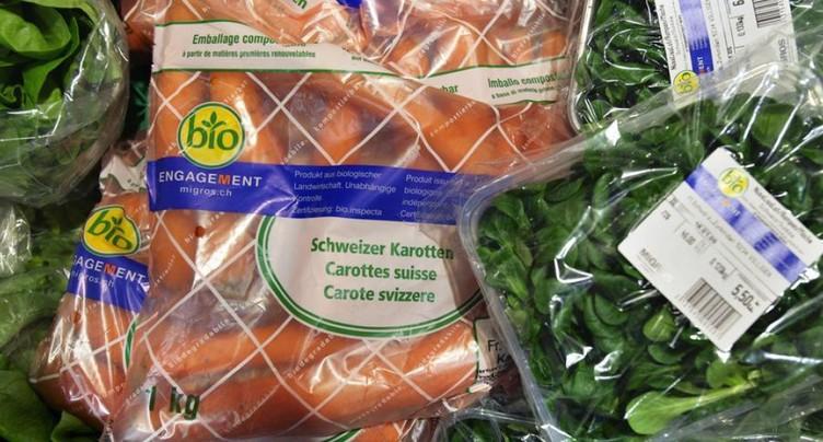 La majorité des produits bio sont vendus dans du plastique