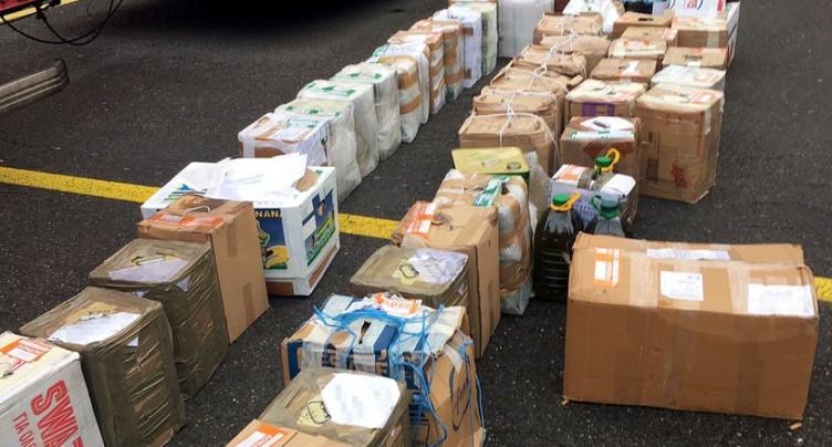Saisie de deux tonnes de produits alimentaires dans un car