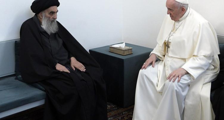 A Najaf en Irak, le pape chez le grand ayatollah chiite Ali Sistani