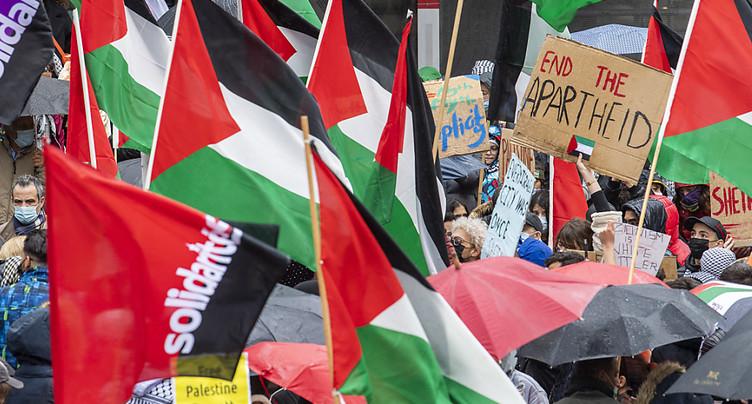 300 personnes manifestent leur solidarité avec les Palestiniens à Genève