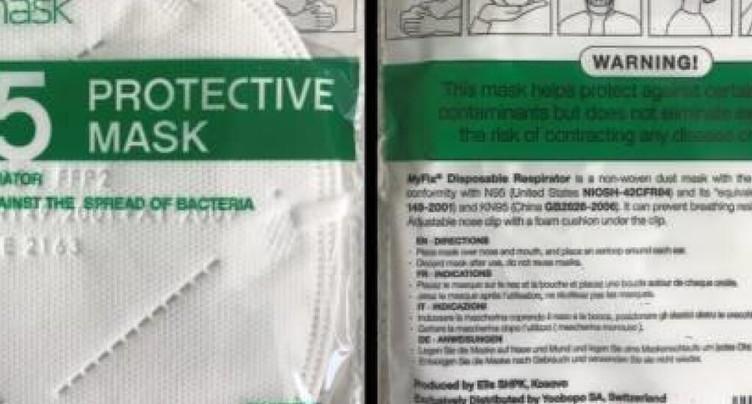 L'importateur rappelle ses masques: protection insuffisante