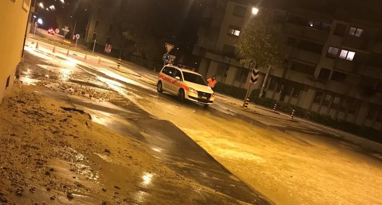 Rue inondée à Bienne
