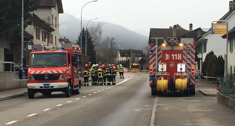 Intervention des pompiers à Courtételle