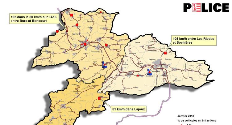 Contrôles routiers: plusieurs infractions dans le Jura en janvier