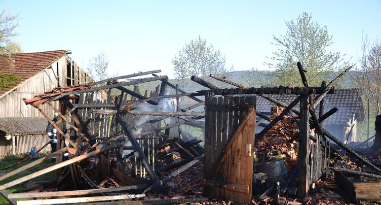 Un cabanon détruit par un incendie près du Château de Miécourt