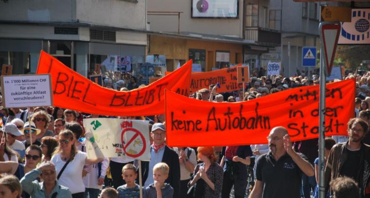 Axe ouest : deuxième manifestation annoncée à Bienne