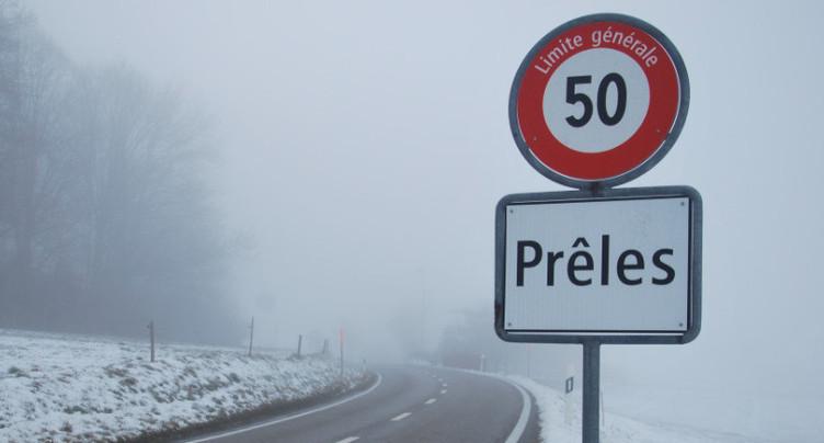 Route fermée entre Prêles et Diesse