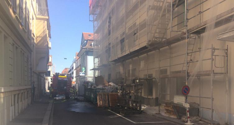 Une benne prend feu à Bienne