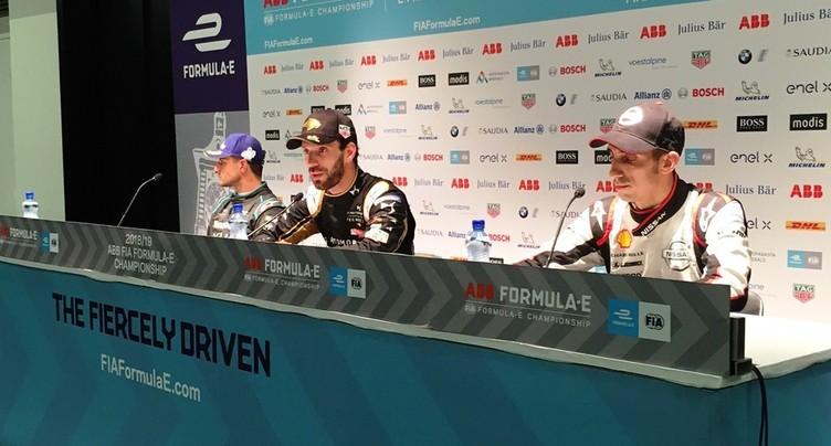Sébastien Buemi sur le podium de l'e-Prix de Berne