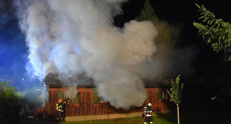 Cabanon en feu à La Chaux-de-Fonds