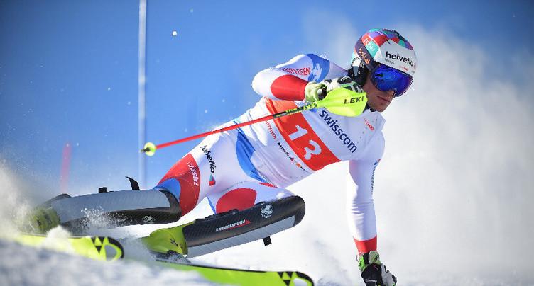Daniel Yule sur le podium à Schladming