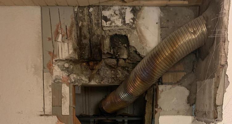 Une poutre prend feu dans un mur à Courtemaîche