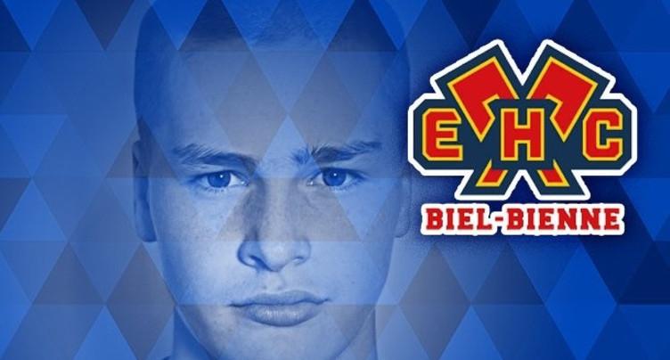 Miles Müller, attaquant au HC Bienne U17, drafté au Canada