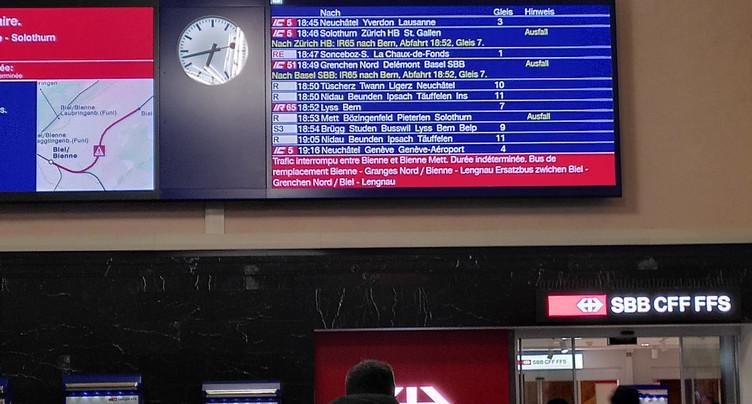 Trafic ferroviaire toujours perturbé dans le Jura bernois