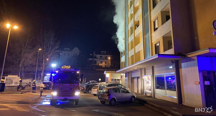 Immeuble en feu à Tavannes