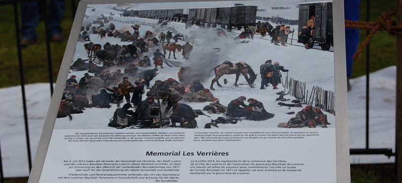 Une des plaques du mémorial Bourbaki inauguré aux Verrières.