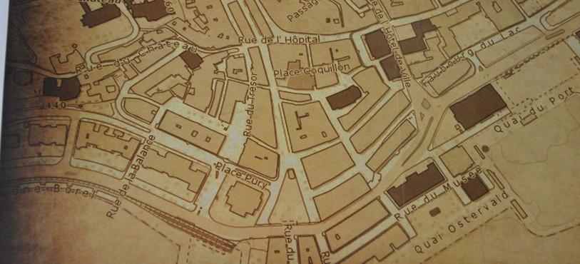 La carte de Neuchâtel datant de 1890 à disposition des enquêteurs.