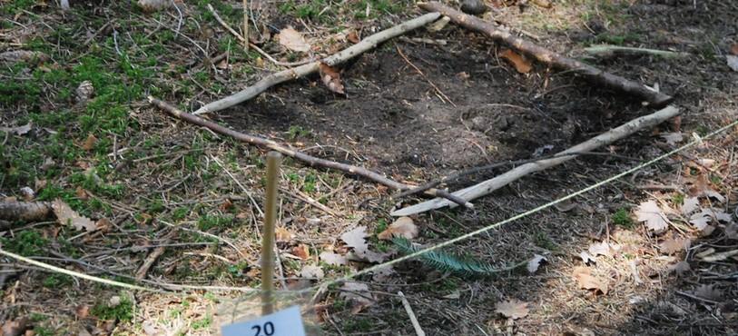 L'empreinte du sac de terreau qui a imité le poids d'un cadavre sur le sol pendant huit mois.