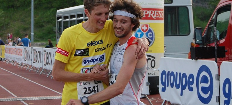Marc Lauenstein félicite le vainqueur Thibaut Baronian.