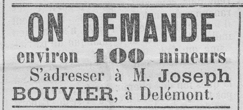 L'annonce parue en 1872 est bien explicite quant aux enjeux économiques du fer. Une chose est sûre: on ne reverra plus jamais paraître une telle annonce!