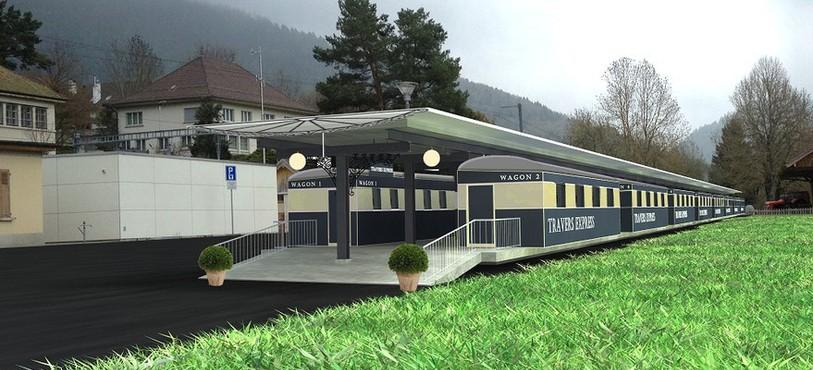Le futur train-hôtel à la gare de Travers.