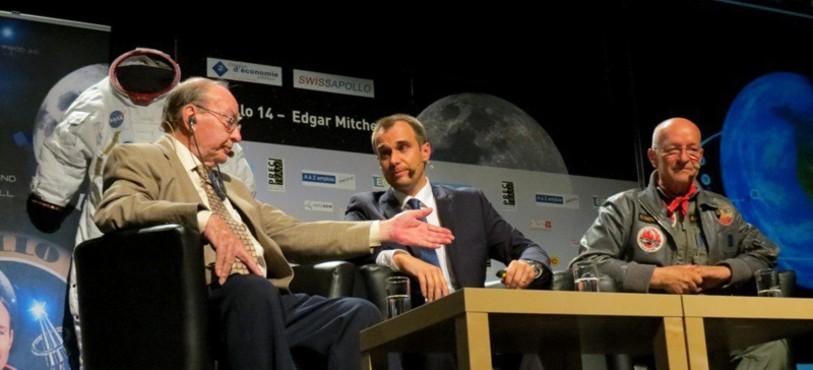 Edgar Mitchell, Lukas Viglietti et Claude Nicollier