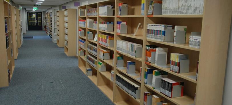 Une vaste bibliothèque et un espace de travail occupent le sous-sol.