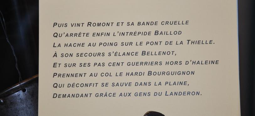 L'une des strophes de la Chanson historique du Landeron.